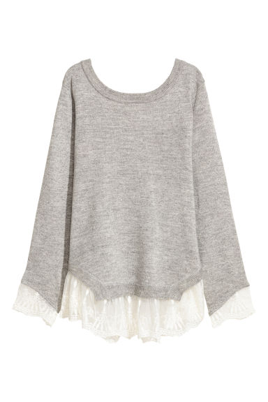 Jumper with lace trims - Light grey marl - Ladies | H&M CN