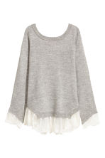 Jumper with lace trims - Light grey marl - Ladies | H&M 2
