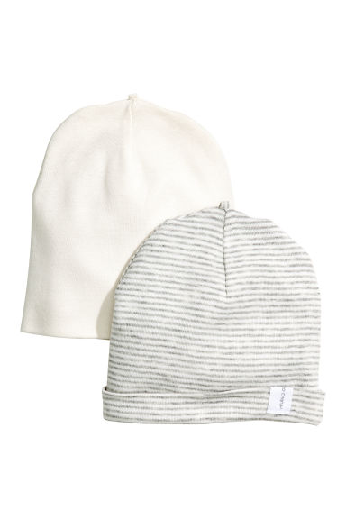 2-pack hats - Grey/White striped - Kids | H&M 1