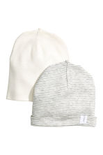 2-pack hats - Grey/White striped - Kids | H&M CN 1
