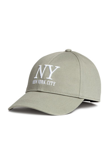 Cotton cap - Khaki green/New York - Ladies | H&M CN