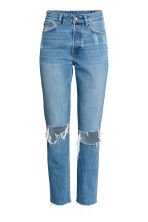 Vintage High Cropped Jeans - Denim blue trashed - Ladies | H&M 2