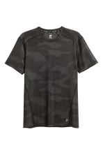 Short-sleeved sports top - Black/Patterned - Men | H&M CN 2