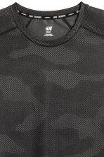 Short-sleeved sports top - Black/Patterned - Men | H&M CN 3