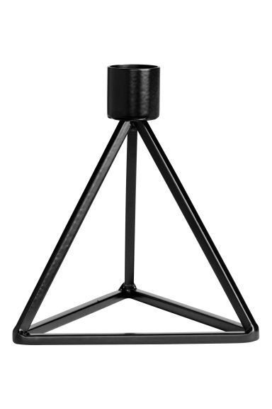 Pyramid-shaped candlestick - Black - Home All | H&M CN 1