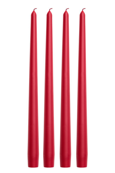 4-pack cone-shaped candles - Dark red -  | H&M GB