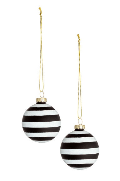 Boules de Noël, lot de 2 - Blanc/noir - Home All | H&M FR