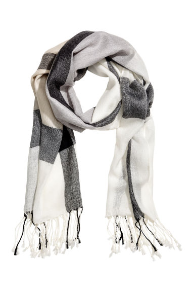 Woven scarf - Grey/Checked - Ladies | H&M CN