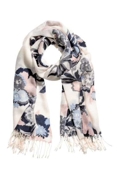 Woven scarf - Natural white/Floral - Ladies | H&M 1