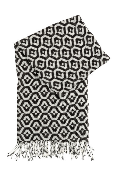 Woven scarf - Black/White patterned - Ladies | H&M 1