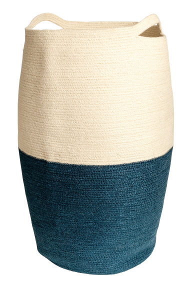 Jute laundry basket - Natural white/Dark blue - Home All | H&M CN 1