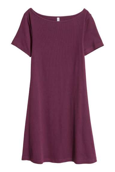 Ribbed jersey dress - Dark purple - Ladies | H&M CN