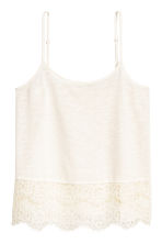 Strappy top with lace - Natural white - Ladies | H&M 2
