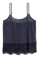 Strappy top with lace - Dark blue - Ladies | H&M IE 2