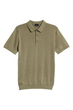 Silk-blend polo shirt - Khaki green - Men | H&M CN 2
