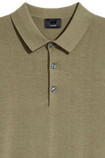 Silk-blend polo shirt - Khaki green - Men | H&M CN 3