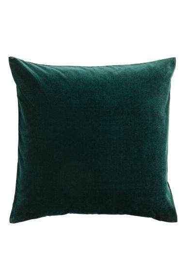 Velvet cushion cover - Dark green -  | H&M GB
