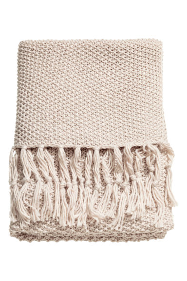 Moss-knit blanket - Light beige - Home All | H&M CN 1