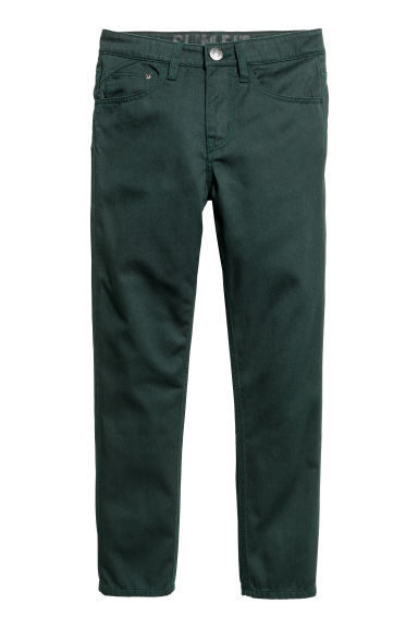 Pantaloni in twill Slim fit - Verde scuro - BAMBINO | H&M IT