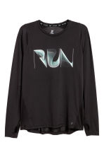 Long-sleeved running top - Black - Men | H&M 2
