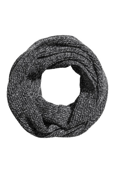 Rib-knit tube scarf - Black marl - Men | H&M IE