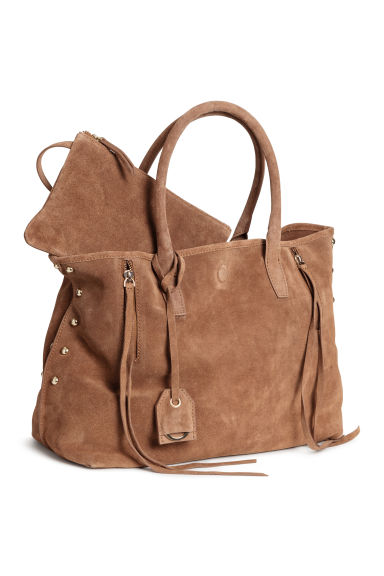Suede shopper - Light brown -  | H&M
