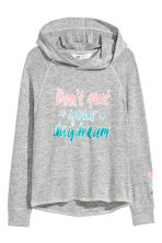 Hooded top with a print motif - Grey marl - Kids | H&M CN 2