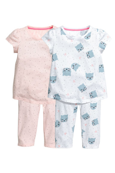 2-pack jersey pyjamas - Powder pink - Kids | H&M CN 1