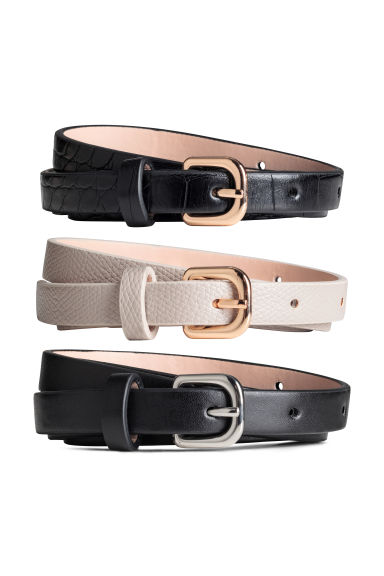 3-pack narrow belts - Mole/Black - Ladies | H&M 1