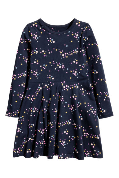 Jersey dress - Dark blue/Patterned - Kids | H&M 1