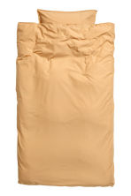 Washed cotton duvet cover set - Light mustard yellow - Home All | H&M CN 2