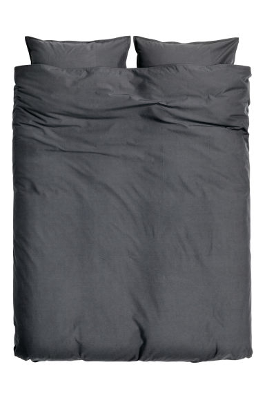 Washed cotton duvet cover set - Anthracite grey - Home All | H&M GB