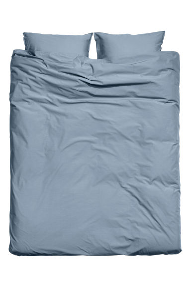 Washed cotton duvet cover set - Pigeon blue - Home All | H&M CN