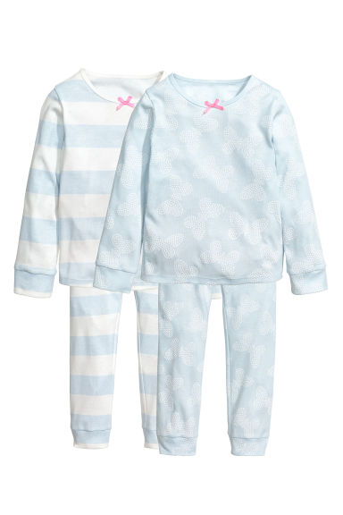 2套入平紋睡衣套裝 - Light blue/Butterflies -  | H&M 1