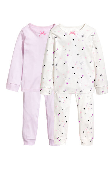 2-pack jersey pyjamas - White/Stars - Kids | H&M 1