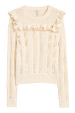 Knitted jumper with a frill - White - Ladies | H&M CN 2