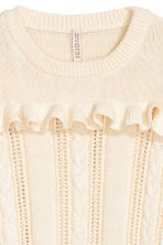 Knitted jumper with a frill - White - Ladies | H&M CN 3