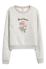 Embroidered sweatshirt - Light grey - Ladies | H&M IE 2