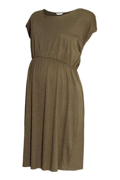 MAMA Jersey dress - Khaki green - Ladies | H&M CN 1