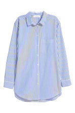 Wide cotton shirt - Blue/White striped - Ladies | H&M 2