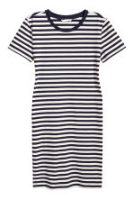 Jersey dress - Dark blue/Striped - Ladies | H&M CN 2