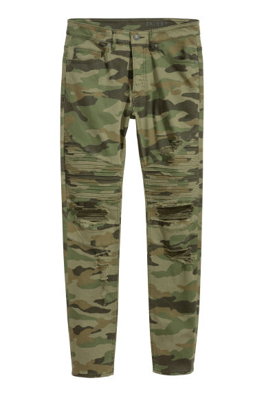 Biker jeans - Khaki green/Patterned - Men | H&M