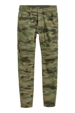 Biker jeans - Khaki green/Patterned - Men | H&M CN 2