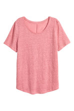 Linen round-neck top - Pink - Ladies | H&M CN 2