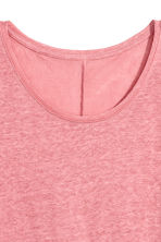 Linen round-neck top - Pink - Ladies | H&M CN 3