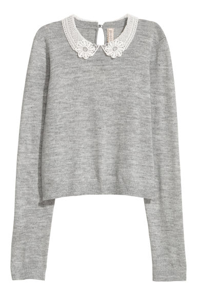 Lace-collared jumper - Grey -  | H&M