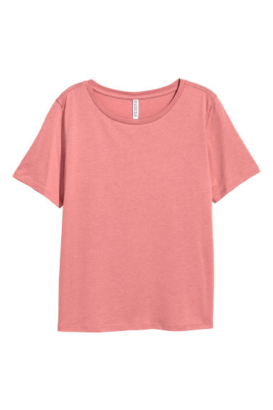Cotton-blend T-shirt - Dark pink marl -  | H&M
