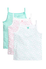 3-pack jersey strappy tops - Mint green/Butterflies - Kids | H&M 1