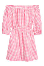 露肩洋裝 - Pink/White checked - Ladies | H&M 2