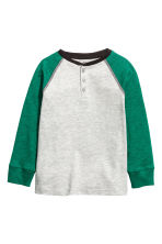 Henley shirt - Green/Grey marl -  | H&M 2